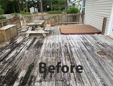 Deck Covered In Dirt Before Pressure Washing